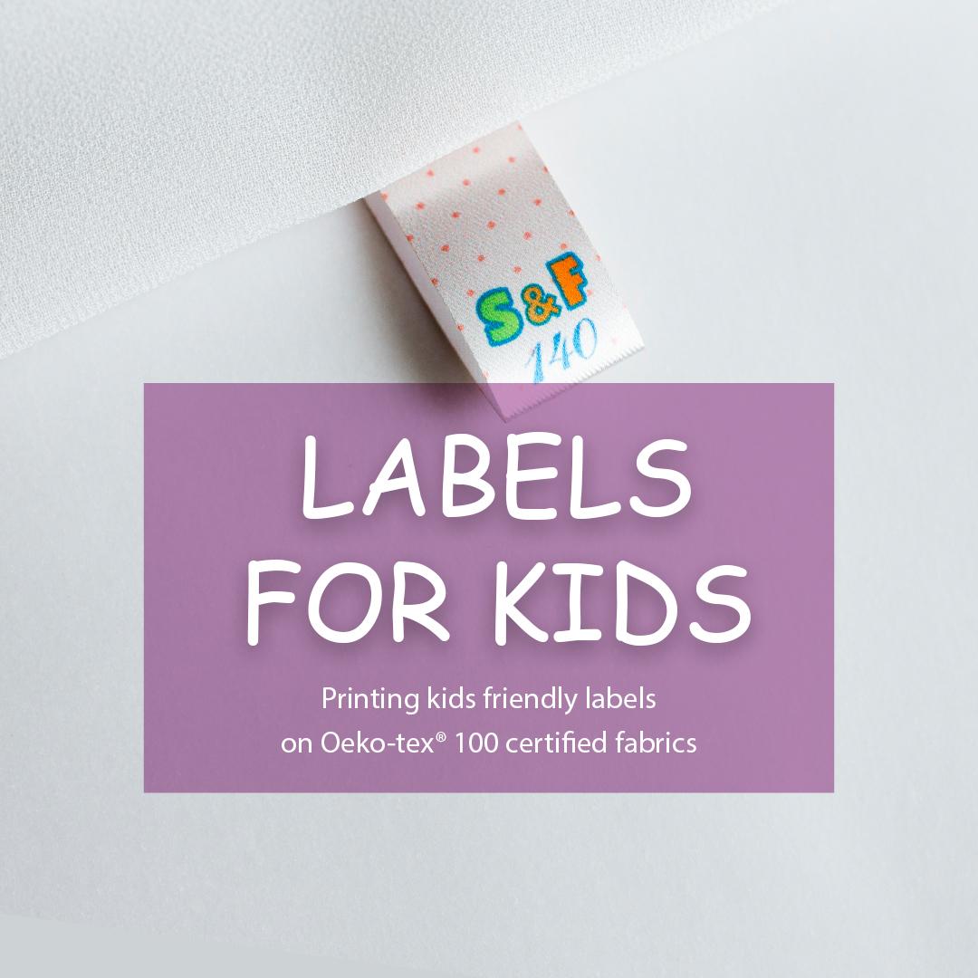 Soft satin label. Designed for children's clothing (S & F) 3