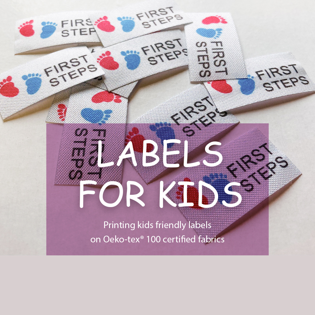 Compact label with logo. Serves for additional allocation of a series of children's clothes. 9