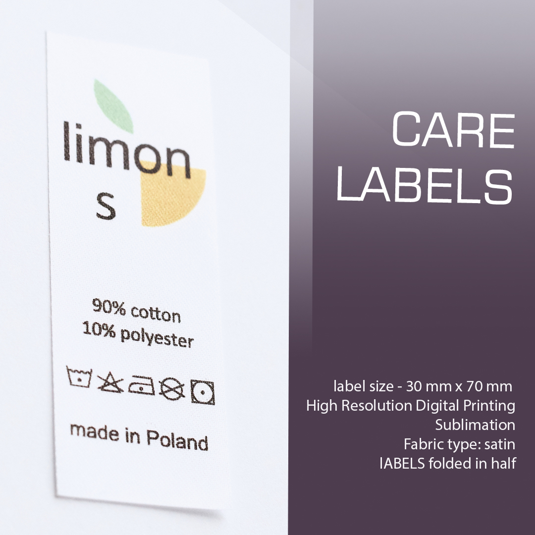 Full-color elongated label with logo, composition and care. Folds in half (Limon) 1