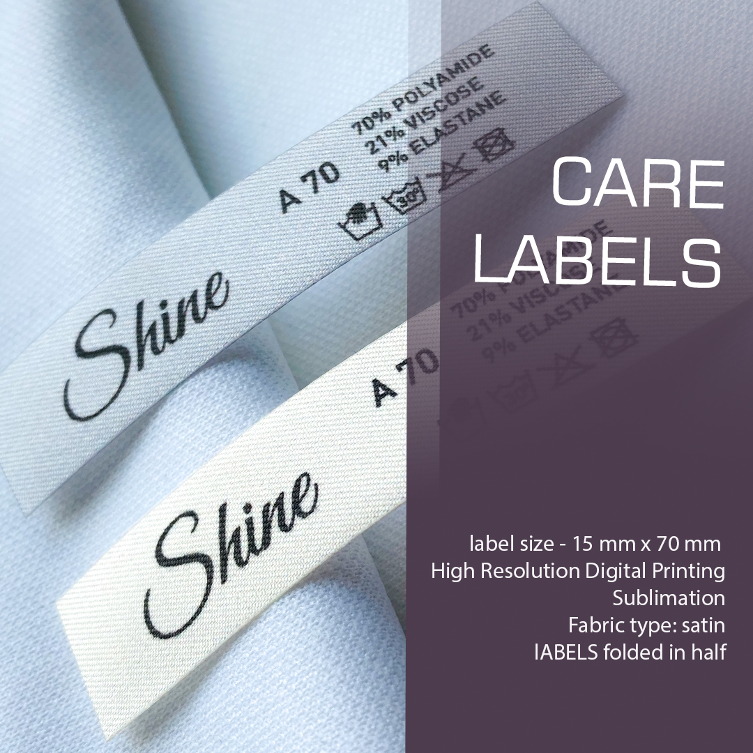 Full-color elongated label with logo, composition and care. Folds in half. 7