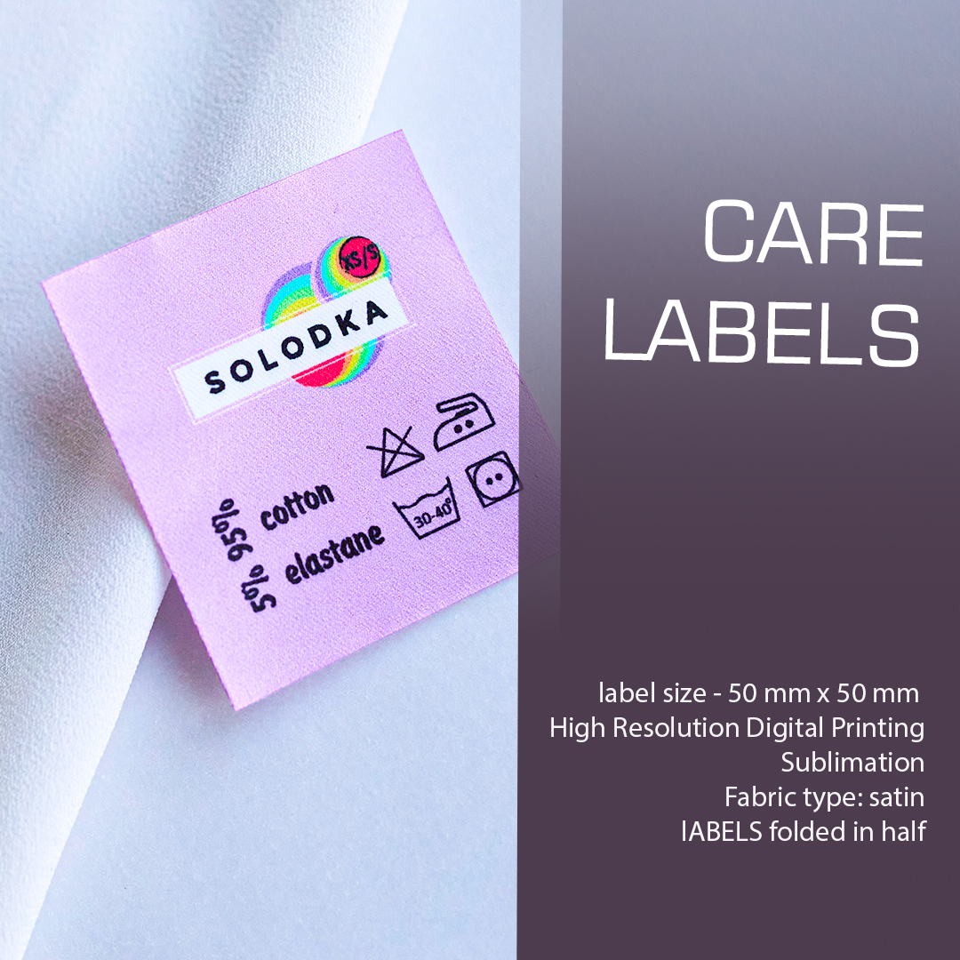 Full color label containing LOGO, composition and care. Designed for clothing. 7