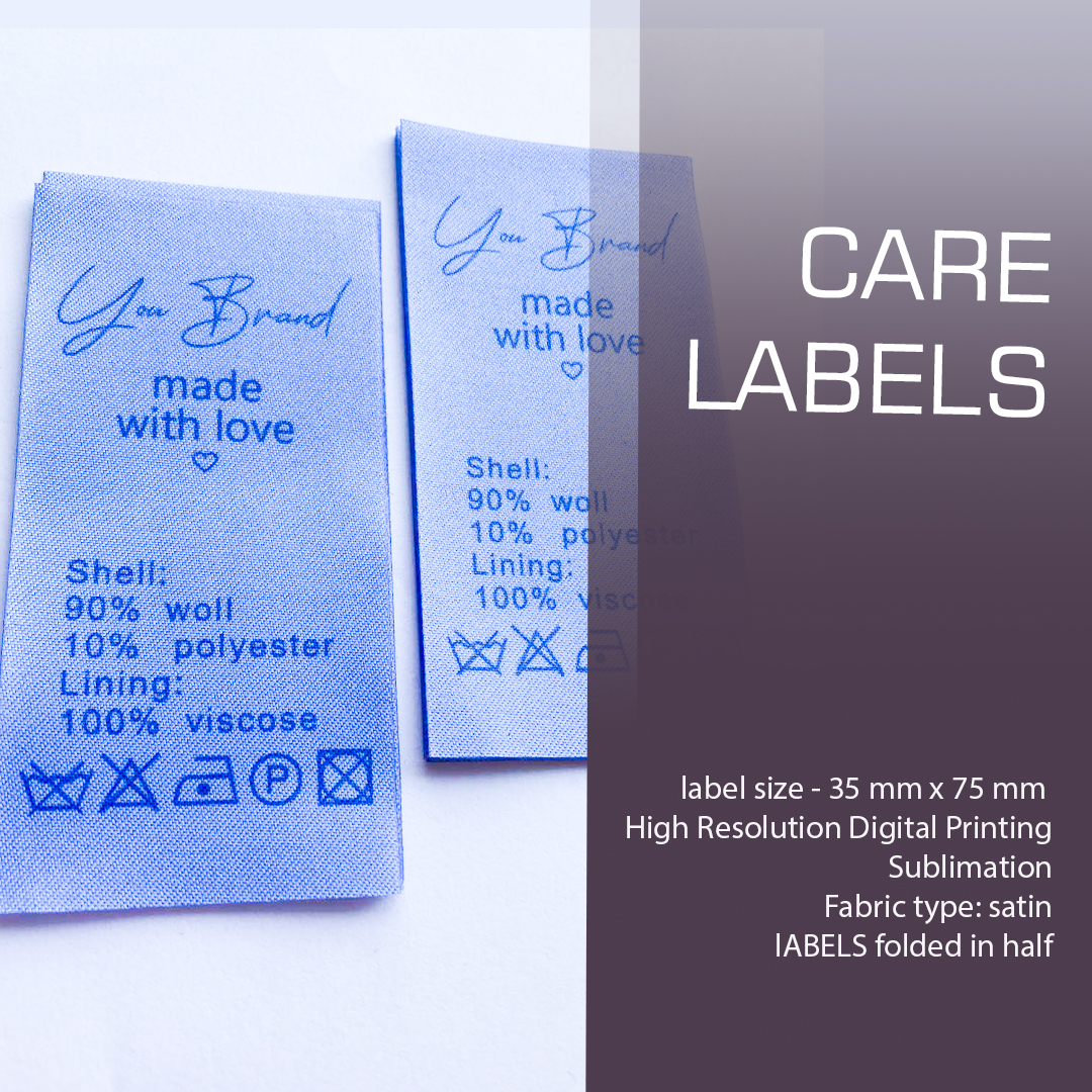 Large full-color label, contains composition and care. Designed for clothing and textiles 7