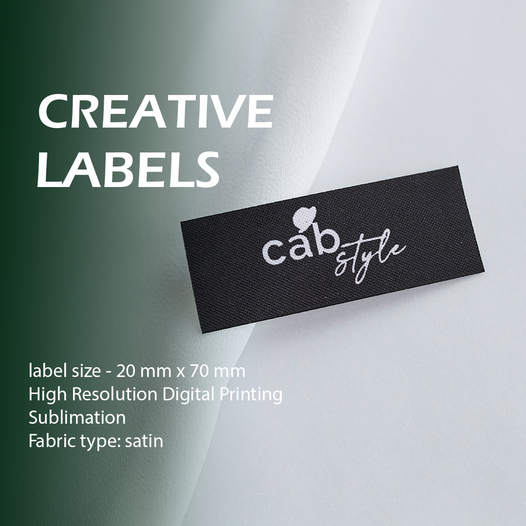 Satin full color label with a print for clothes 7