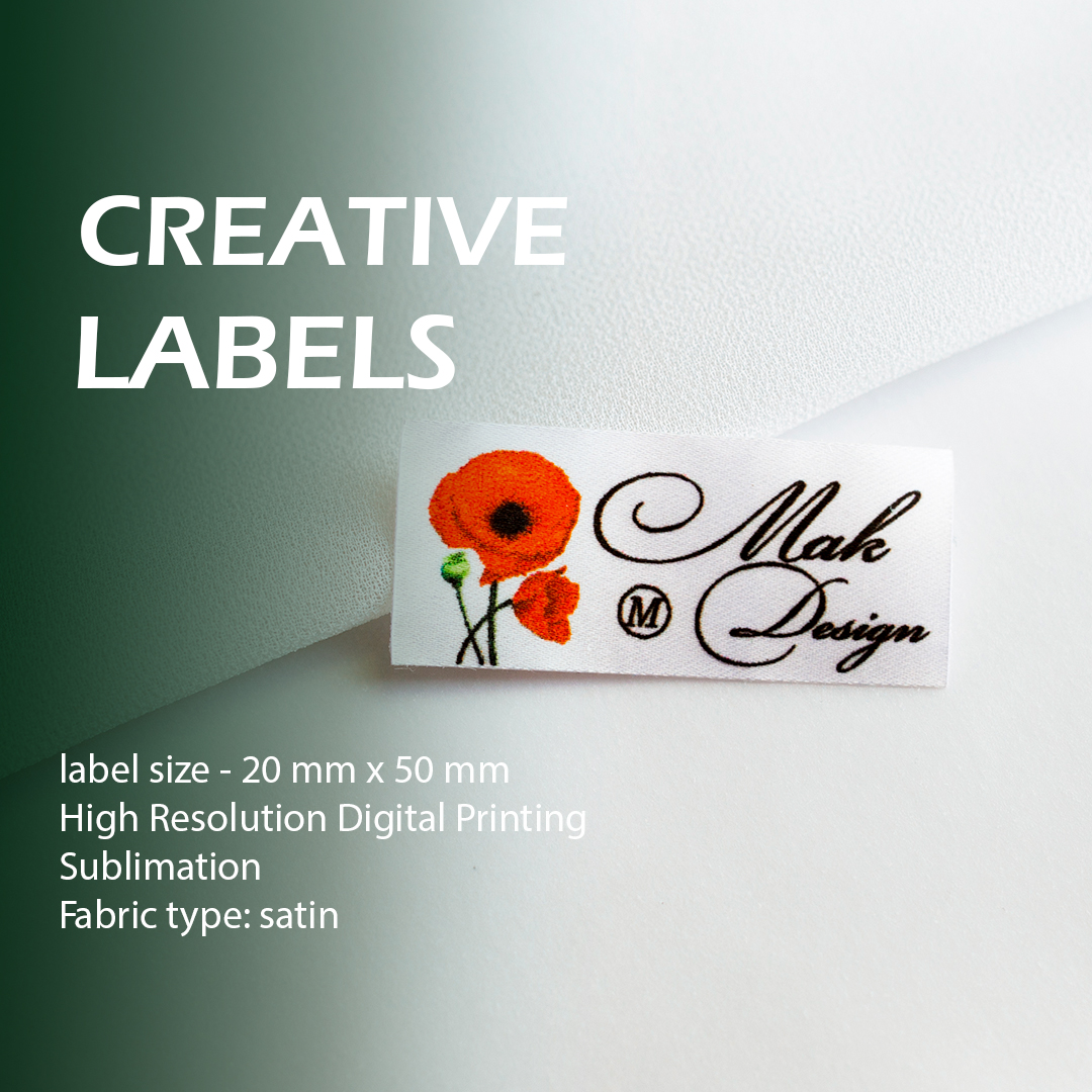 Printed full color label. Picture, logo, text for example 1