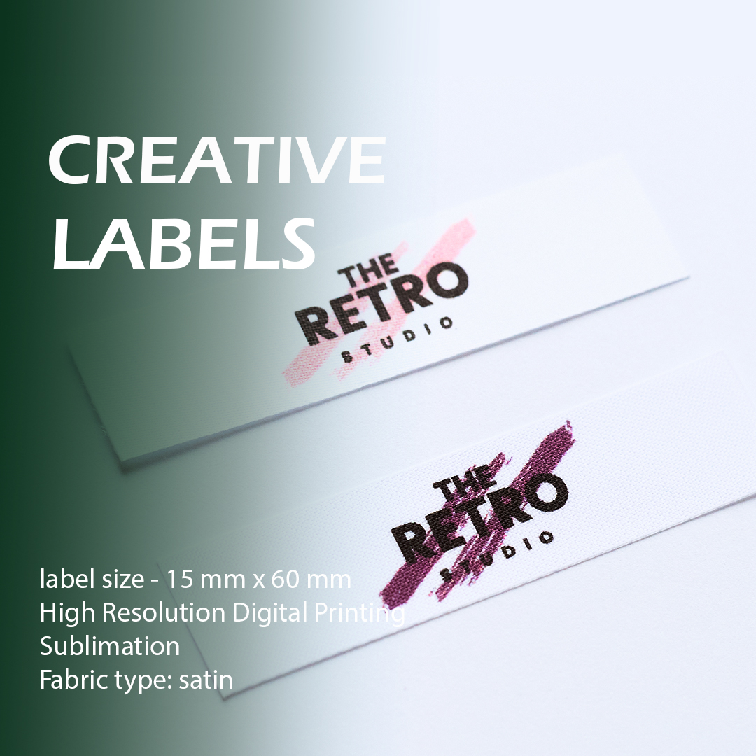 The label is branded with a logo. It is intended for sewing to clothes. 1