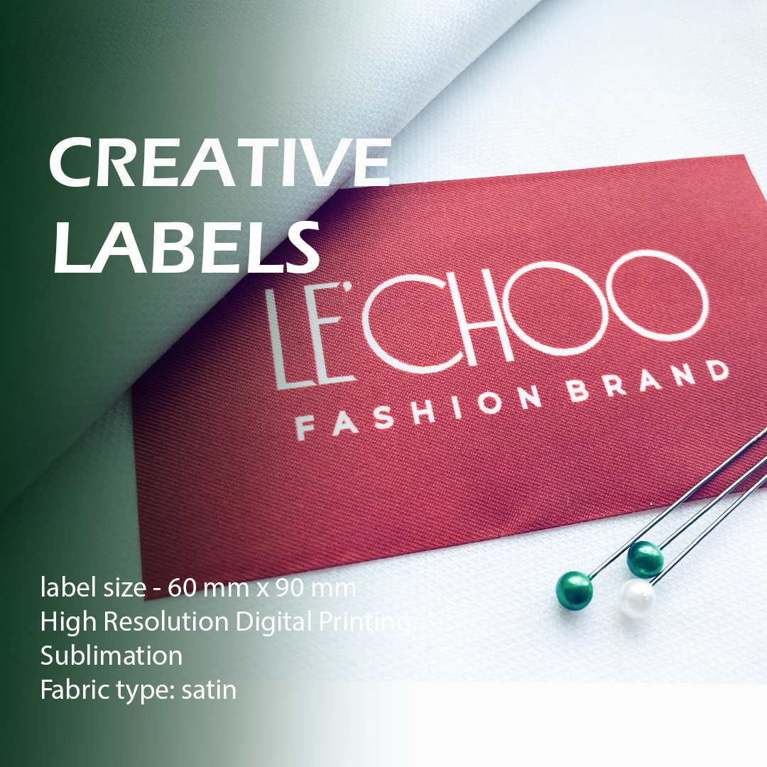 Satin full color label with a print for clothes 1