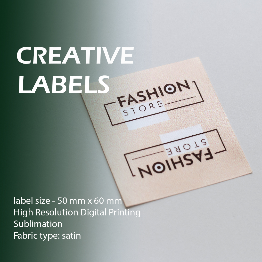 Printed full color label, folded in half Logo, text 7