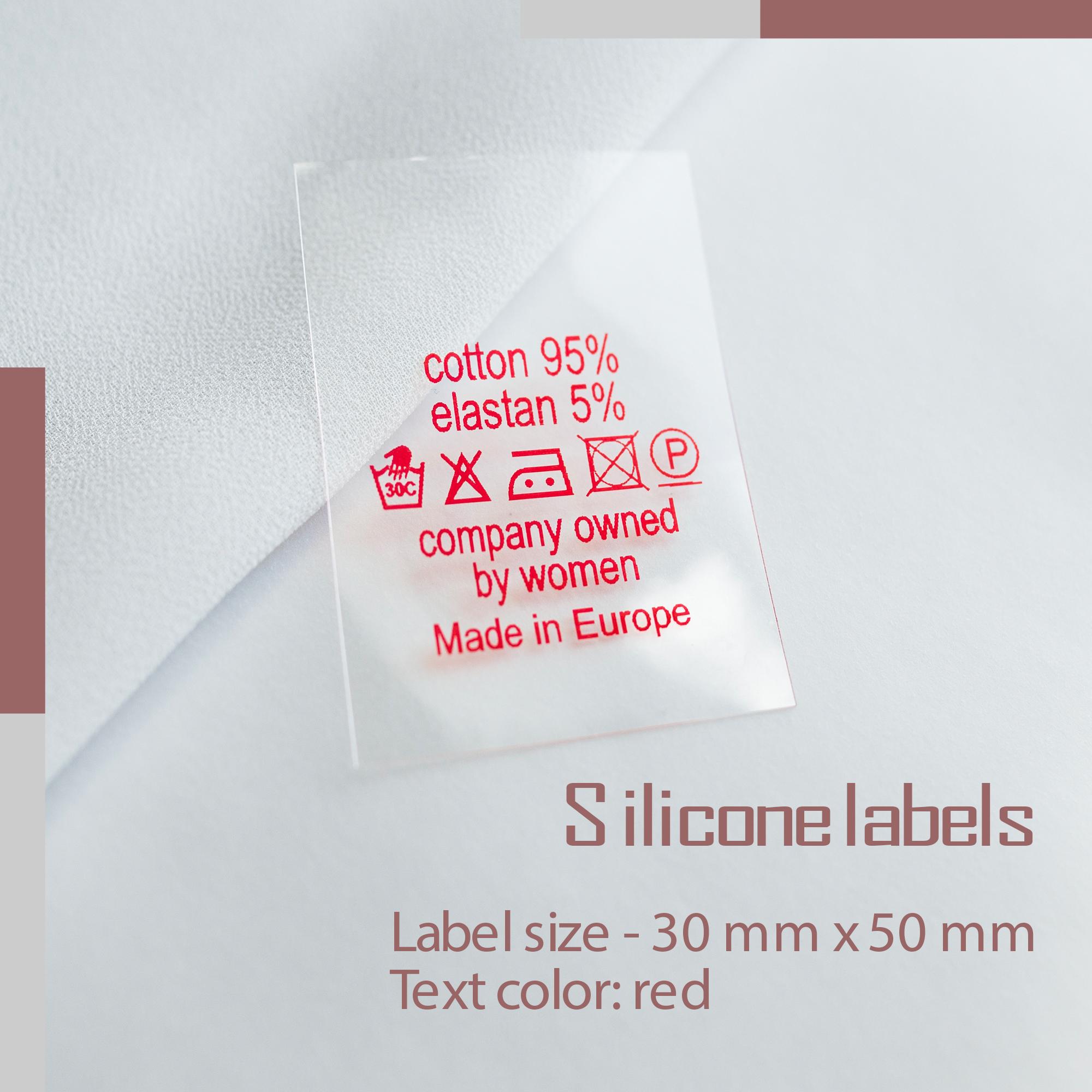 Label on silicone film. Designed for special conditions for sewing on clothes. Print in one color! 3