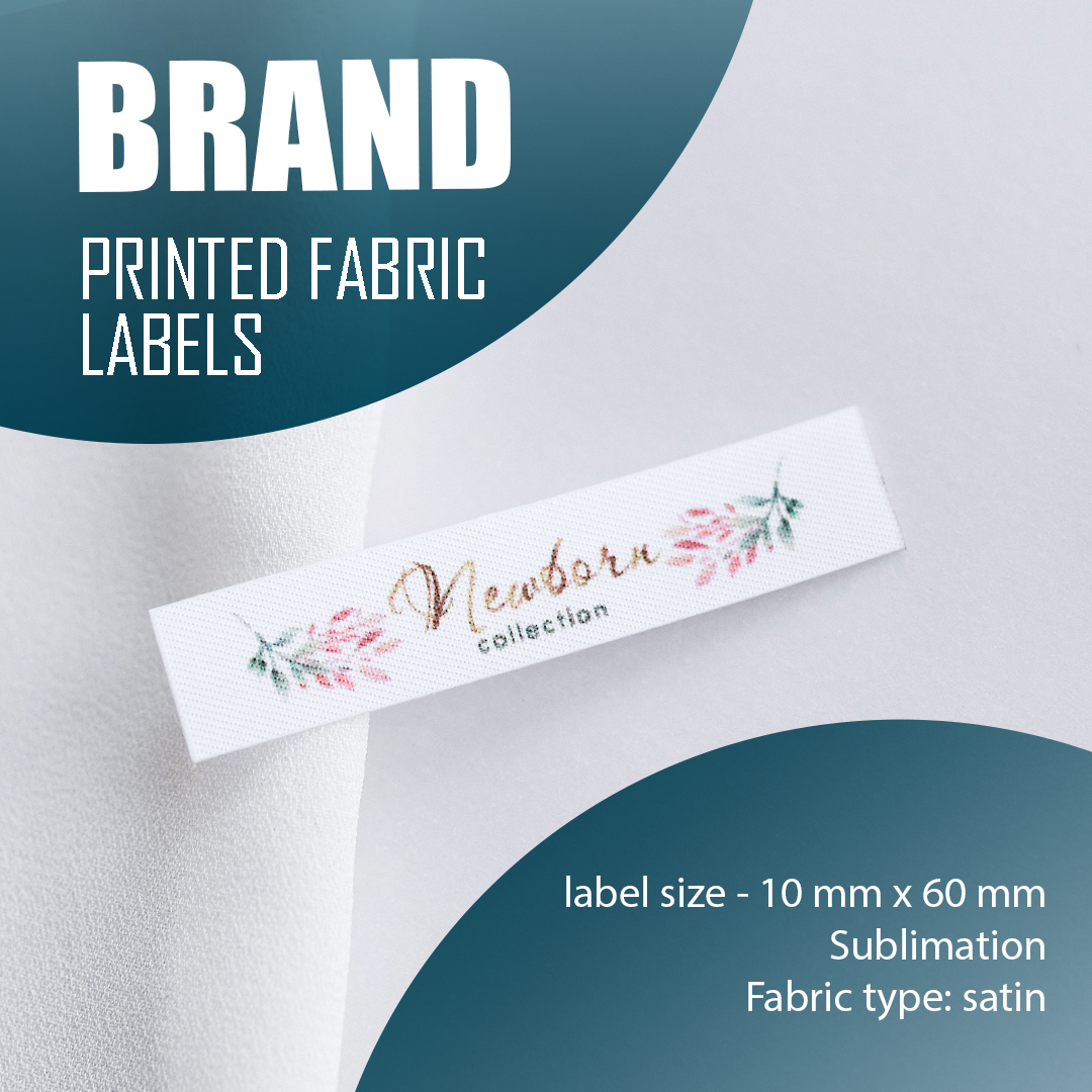 Elongated label with logo, full color printing. Designed for clothing and textiles. 9