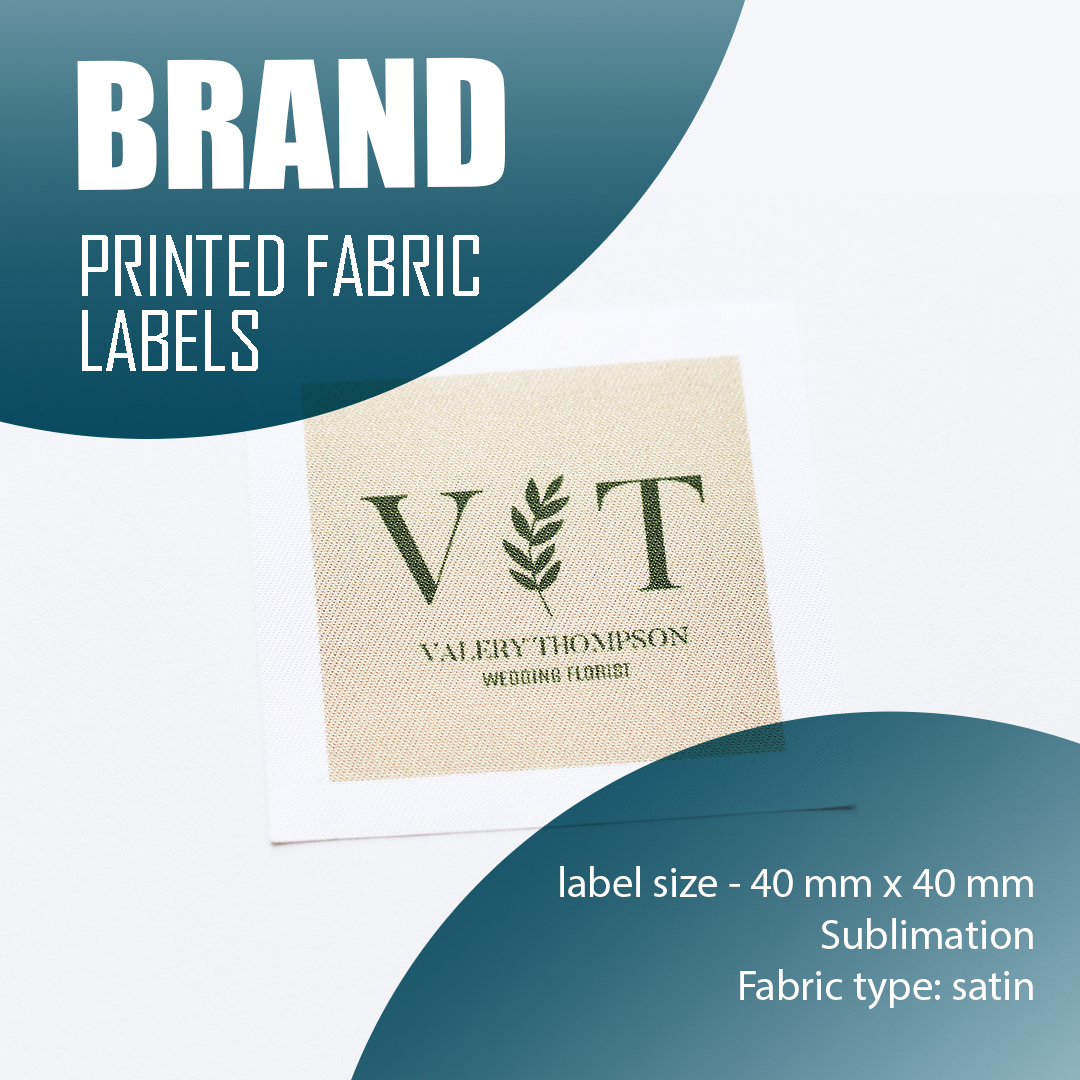 Label with logo, full color print. Designed for clothing and textiles. 11