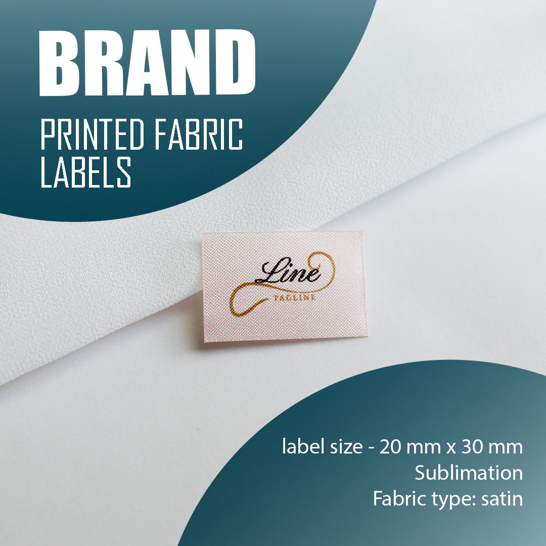 Label with logo, full color print. Designed for clothing and textiles. 7